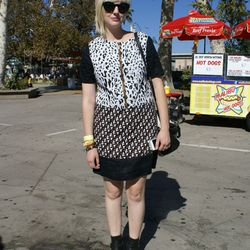We love how festivalgoer and designer Jade Thompson paired prints on prints with boots.