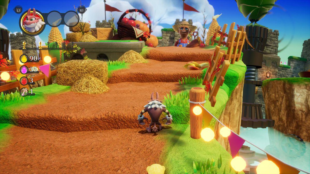 Una captura de pantalla del primer nivel de Balan Wonderworld