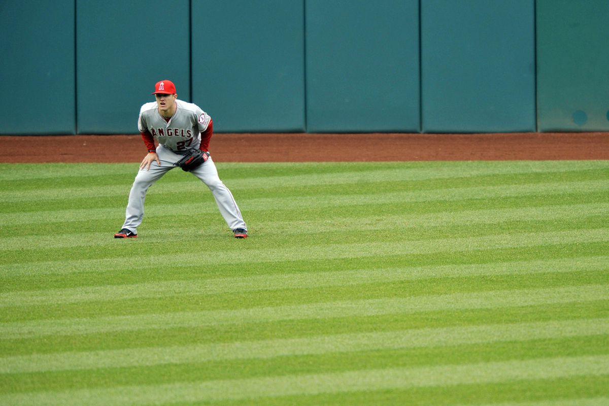 Apr 28, 2012; Cleveland, OH, USA; Los Angeles Angels left fielder Mike Trout (27) stands in the outfield in the seventh inning against the Cleveland Indians at Progressive Field. Mandatory Credit: David Richard-US PRESSWIRE