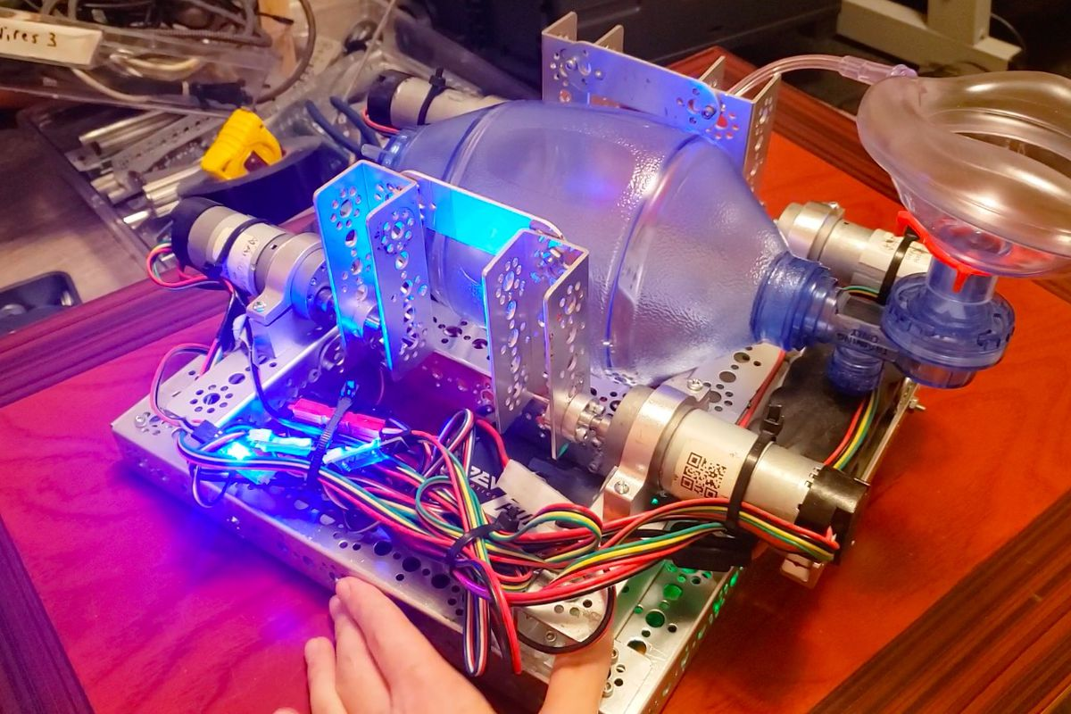 The TETRIX Portable Ventilator only took two to three hours to make with recycled robotics equipment.