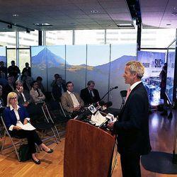 Salt Lake City Mayor Ralph Becker speaks as new Salt Lake City International Airport terminal design details are unveiled in Salt Lake City, Tuesday, Sept. 29, 2015.