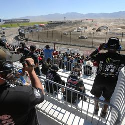 Spotters call out information to the racers in the Pro 2 division in the Lucas Off-Road races in Tooele on Saturday, June 24, 2017.