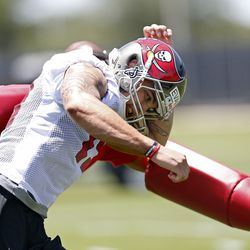 Mike Evans rips through a coach simulating press coverage.