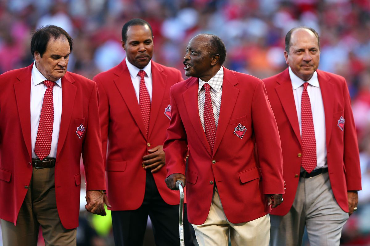 Former Cincinnati Reds player Pete Rose, Barry Larkin, Joe Morgan and Johnny Bench walk on the field prior to the 86th MLB All-Star Game at the Great American Ball Park on July 14, 2015 in Cincinnati, Ohio.
