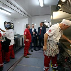 The mobile kitchen donated by the LDS Church to the Red Cross Rome for use with migrants, refugees and the homeless, can prepare and serve 900 meals a day.