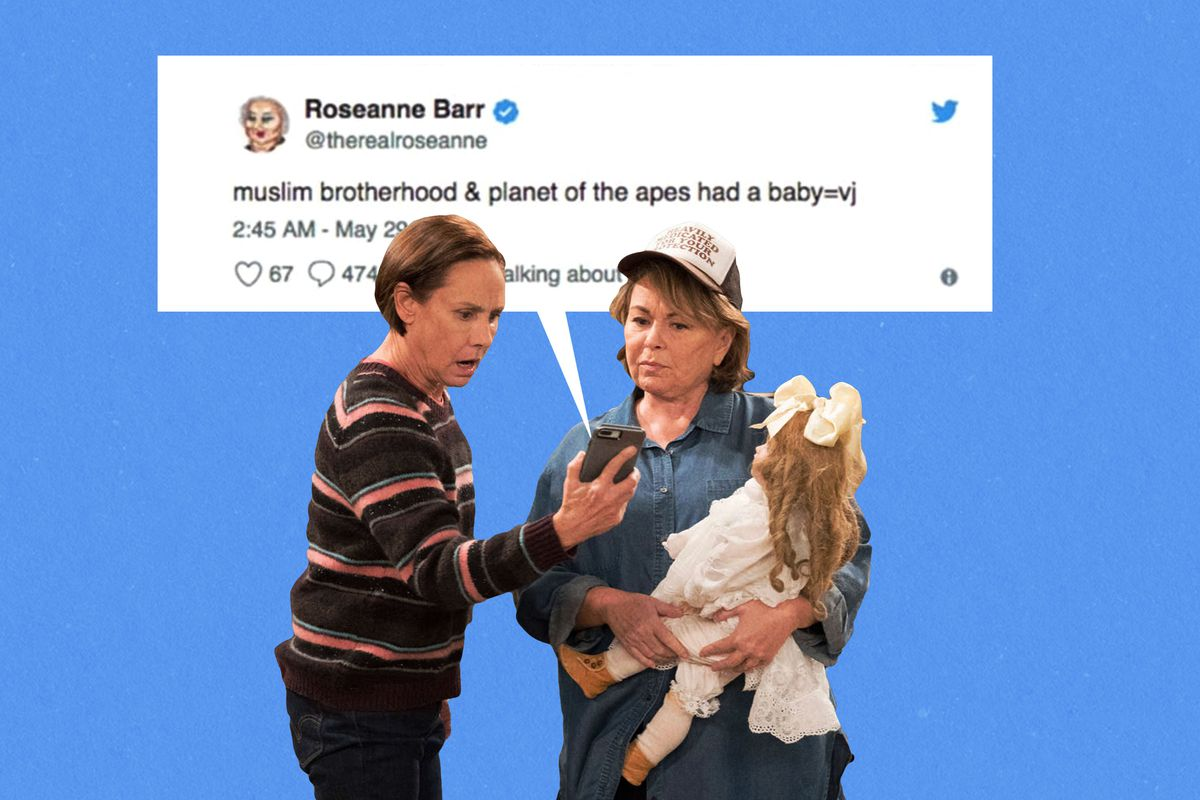 Laurie Metcalf and Roseanne Barr standing in front of Barr's racist tweet