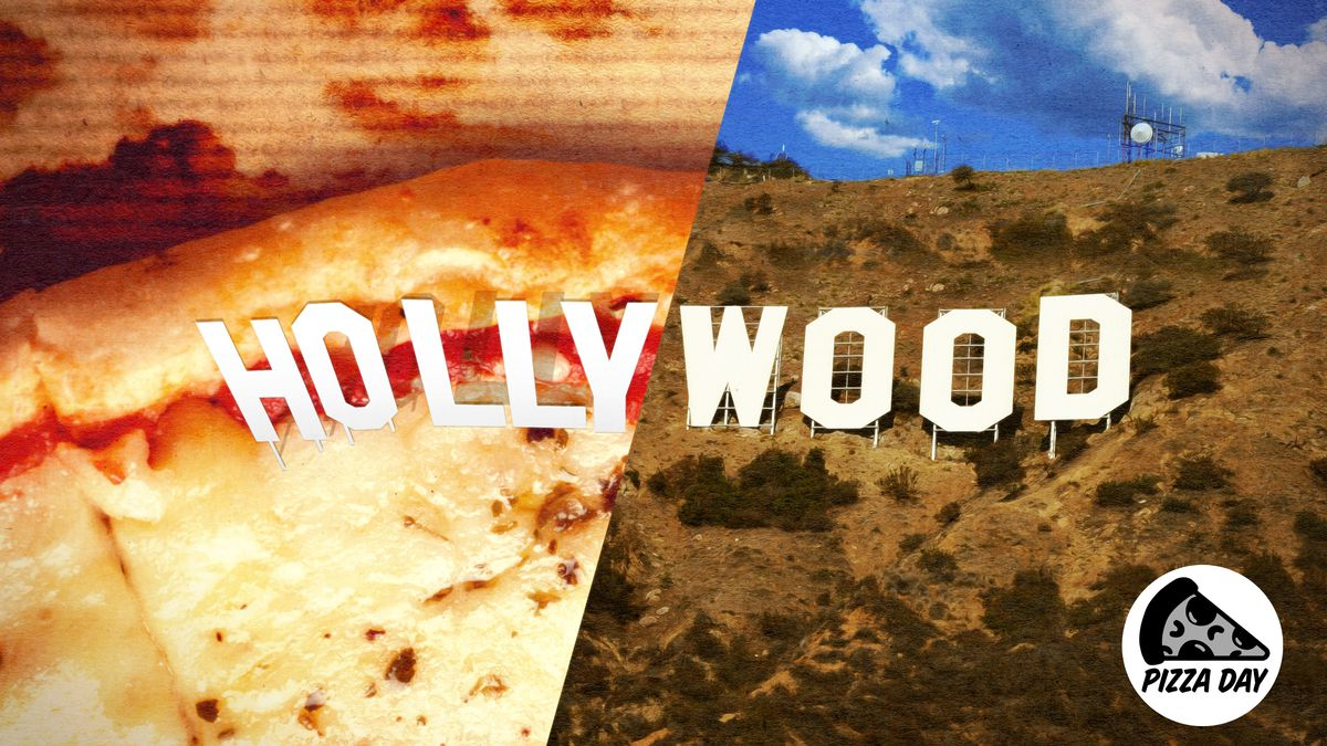 The Hollywood sign with the left half covered in pizza