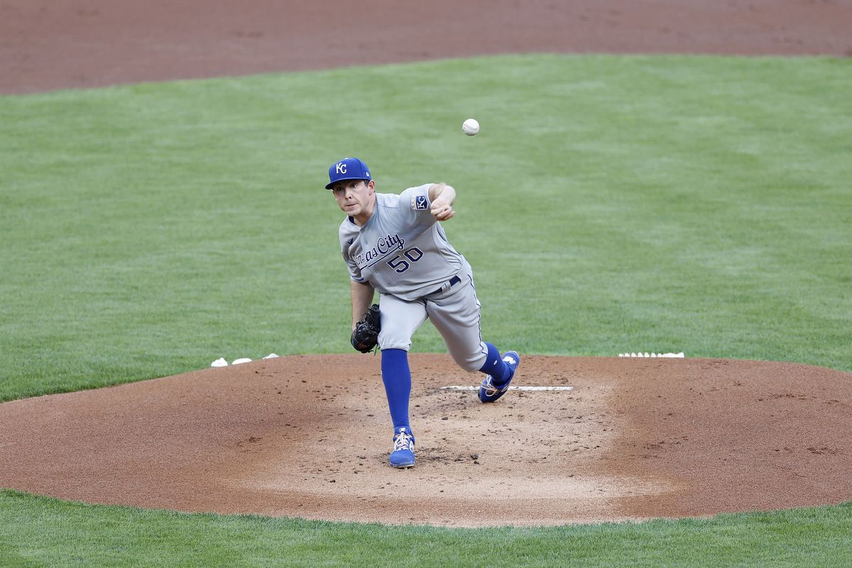 Kris Bubic #50 of the Kansas City Royals pitches during a game against the Cincinnati Reds at Great American Ball Park on August 11, 2020 in Cincinnati, Ohio. The Reds won 6-5 in ten innings.