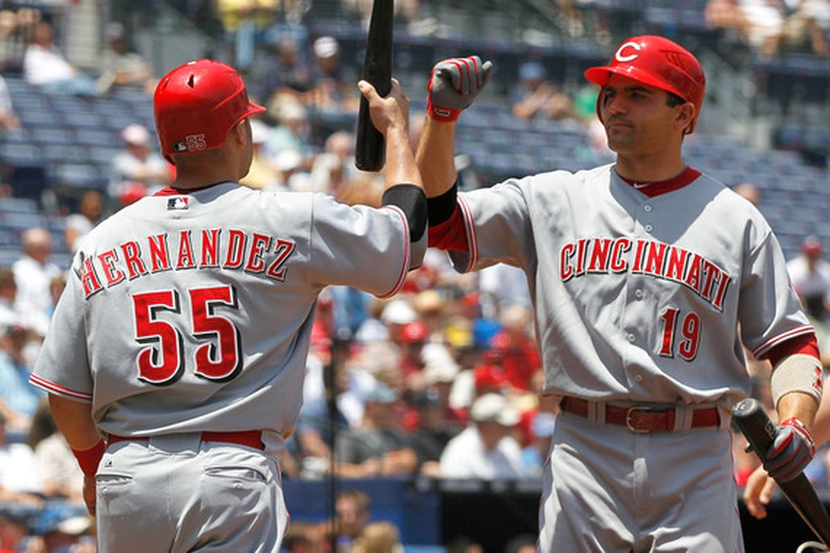 ATLANTA - MAY 20:  Ramon Hernandez #55 of the Cincinnati Reds celebrates with Joey Votto #19 after scoring against the Atlanta Braves at Turner Field on May 20, 2010 in Atlanta, Georgia.  (Photo by Kevin C. Cox/Getty Images)