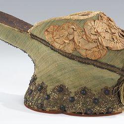 Chopine (Italian), 1550–1650. Silk, metal.