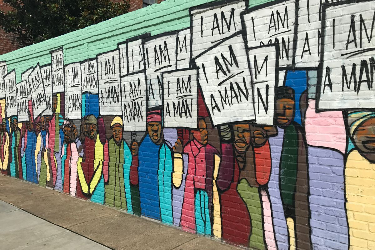 A mural paying homage to the 1968 sanitation worker strike in Memphis is near the National Civil Rights Museum, where the Philanthropy Roundtable sponsored part of its 2017 forum on K-12 education investments. The mural is by Marcellous Lovelace.