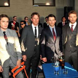 NEW YORK, NY - SEPTEMBER 09:  (L-R) Ed Westwick, Brad Richards, James Marsden, and Kellan Lutz attend the Tommy Hilfiger Men's Spring 2012 fashion show during Mercedes-Benz Fashion Week at The Highline on September 9, 2011 in New York City.  (Photo by Ste