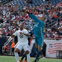 FOXBOROUGH, MA - MARCH 30: New England Revolution gaolkeeper Cody Cropper #1 punches away a cross during the first half at Gillette Stadium on March 30, 2019 in Foxborough, Massachusetts. (Photo by J. Alexander Dolan - The Bent Musket)
