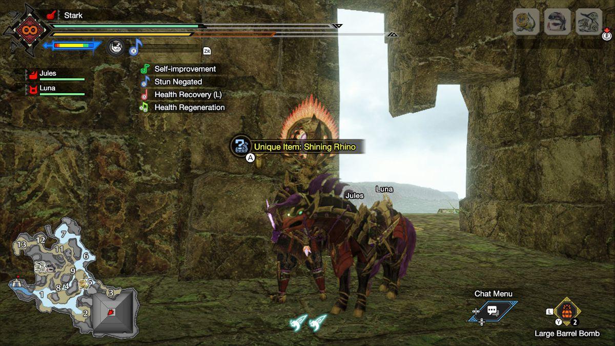 A hunter grabs the Shining Rhino node in Monster Hunter Rise