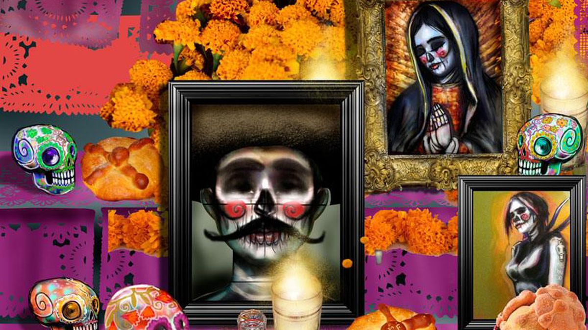 A painting of an ofrenda, or altar, filled with framed paintings, marigolds, sugar skulls, and candles.