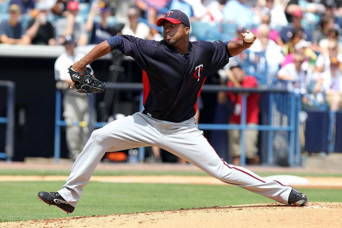 March 23, 2012; Tampa, FL, USA; Minnesota Twins starting pitcher Francisco Liriano (47) throws a pitch in the first inning against the New York Yankees at George M. Steinbrenner Field. Mandatory Credit: Kim Klement-US PRESSWIRE