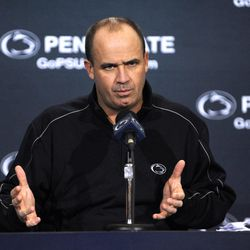 Penn State football head coach Bill O'Brien talks to the media during his weekly news conference Tuesday, Sept. 25, 2012, at Beaver Stadium on the Penn State University campus, in State College, Pa.
