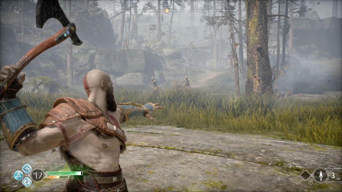 God of War - Kratos prepares to throw his axe