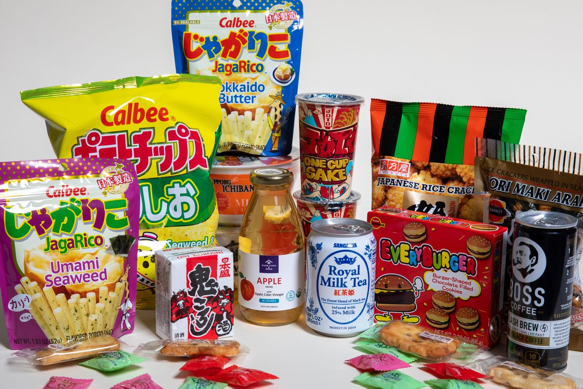 A display of Calbee chips, drinks, sakes, and candies at Fulamingo