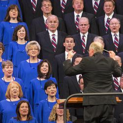 Members of the Tabernacle Choir sing during the Saturday morning session of the 183rd Semiannual General Conference for the Church of Jesus Christ of Latter-day Saints Saturday, Oct. 5, 2013 inside the Conference Center.
