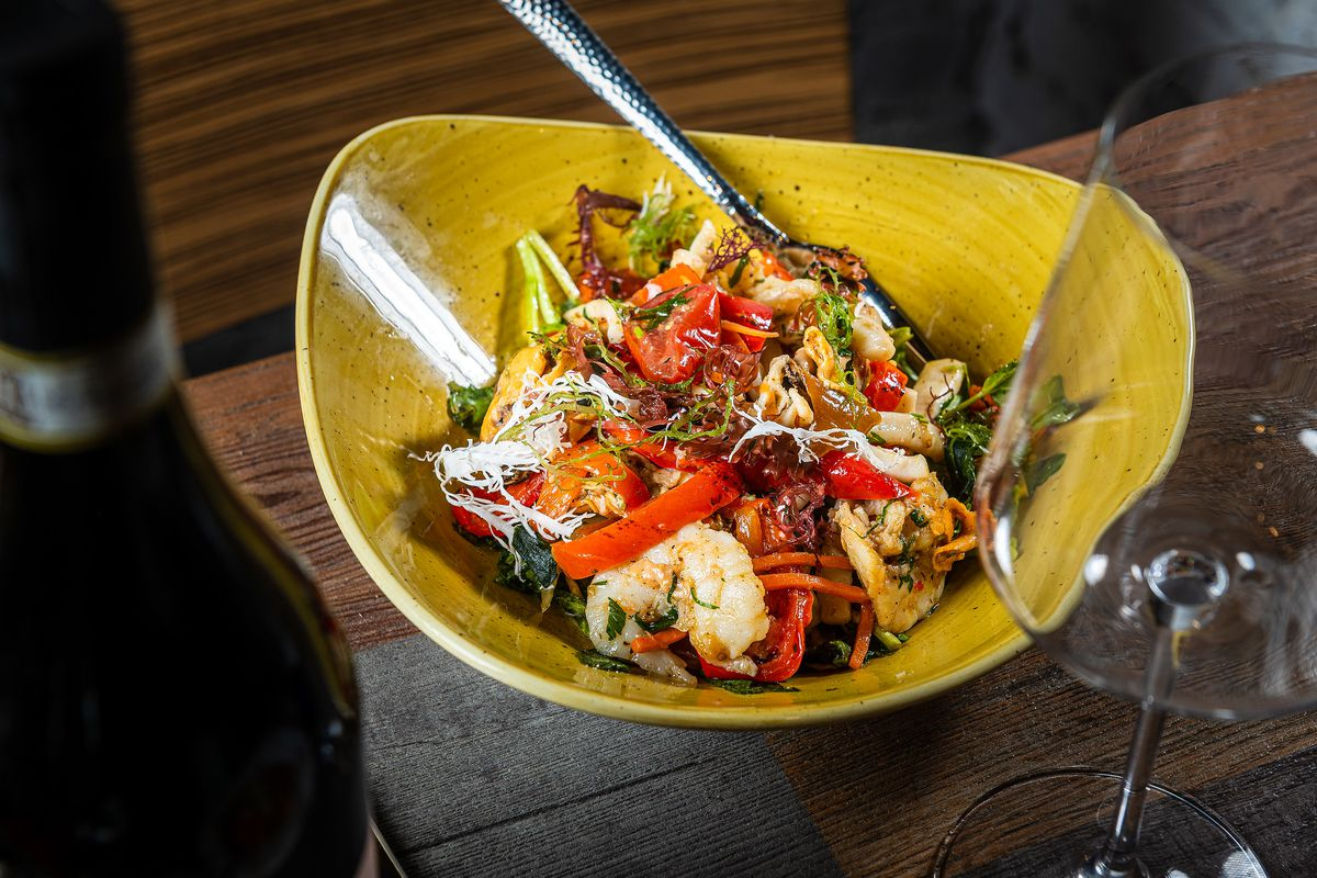 Lupo Pizzeria's marina salad comes with prawns, calamari, and mussles