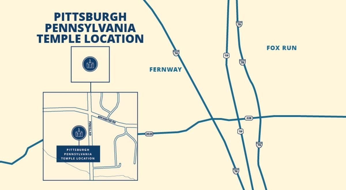 A map shows the location of the Pittsburgh Pennsylvania Temple.