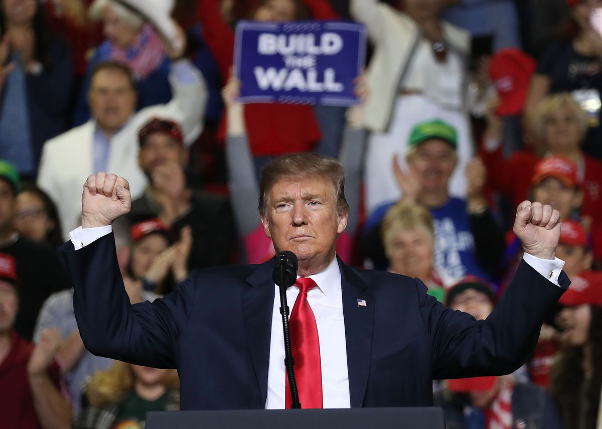President Donald Trump speaks during a demonstration on border security at the El Paso County Coliseum on February 11, 2019 in El Paso, Texas. & Nbsp;