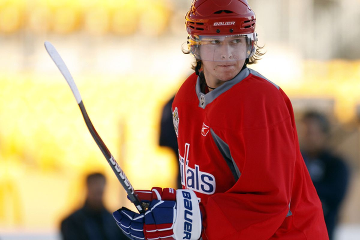 PITTSBURGH PA - DECEMBER 31:  Nicklas Backstrom #19 of the Washington Capitals looks on during the 2011 NHL Winter Classic Practice on December 31 2010 at Heinz Field in Pittsburgh Pennsylvania.  (Photo by Justin K. Aller/Getty Images)