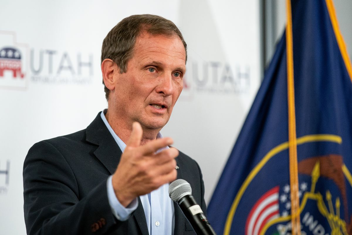 Rep. Chris Stewart, R-Utah, speaks at an election night event for Republican candidates in Sandy on Nov. 3, 2020.