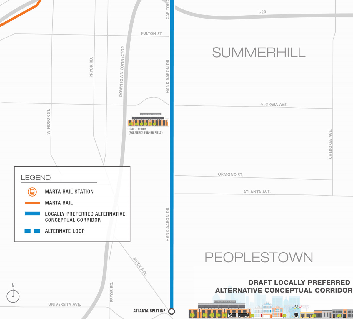 A map shows how the BRT line is planned for Capitol Avenue and Hank Aaron Drive.