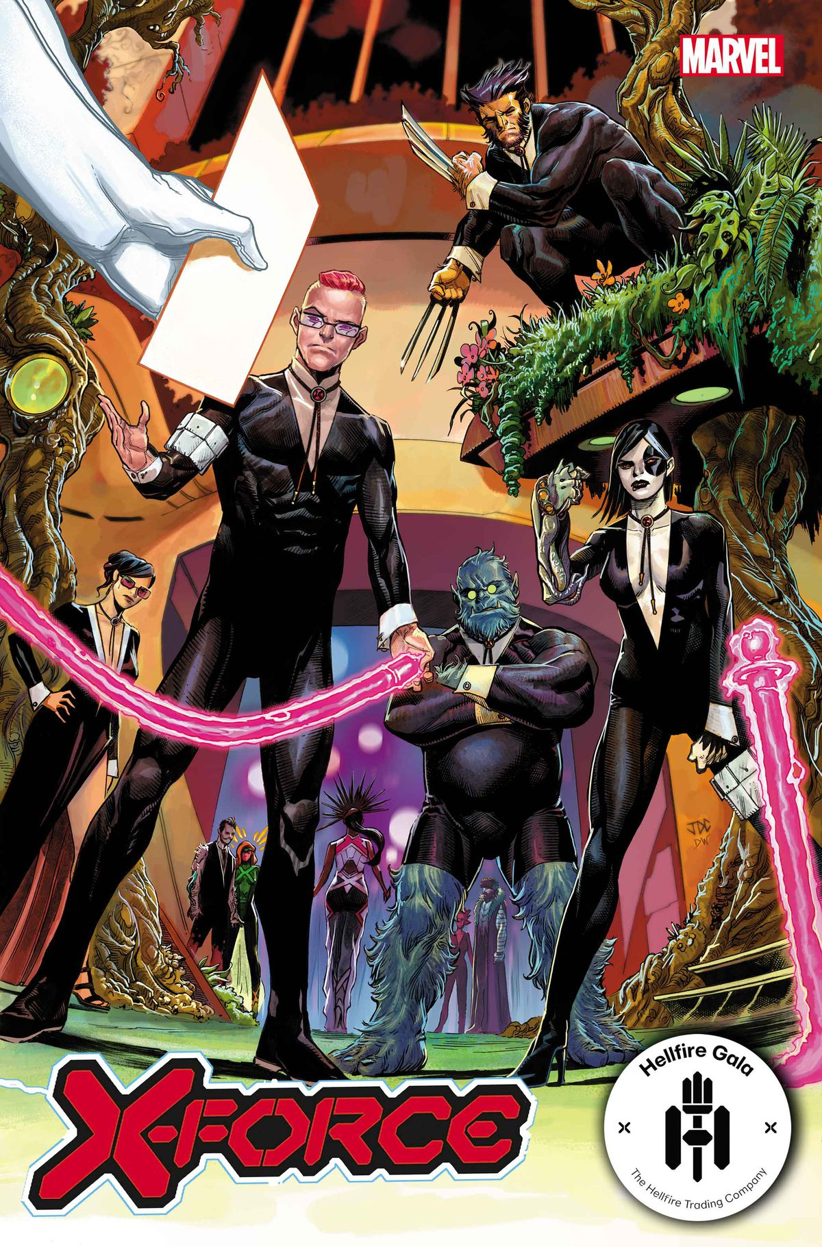 X-Force, in black suits and bolo ties, work the Hellfire Gala as bouncers on the cover to X-Force #20, Marvel Comics (2021)