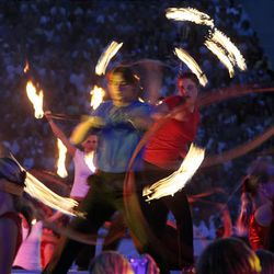 Fire dancers perform as part of the 2009 Stadium of Fire at LaVell Edwards Stadium in Provo on Saturday.