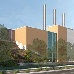 A conceptual rendering of BYU's planned cogeneration facility, as viewed from the southeast. The facility includes three smokestacks, each about half the size of the smokestack the university will demolish in coming days after eliminating its use of coal. The cogeneration facility will use a natural-gas-powered turbine.