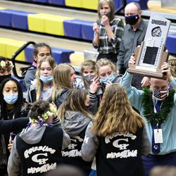 Copper Hills girls celebrate their second place finish in 6A State Wrestling championship at West Lake High in Saratoga Springs on Monday, Feb. 15, 2021.