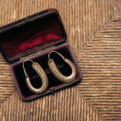 Early Victorian Pearl Hoop Earrings, 14K Gold, $3,250