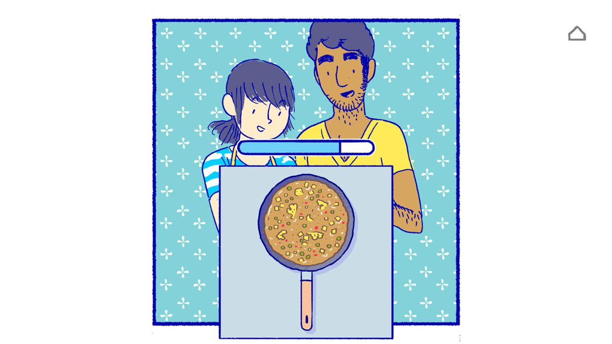 Art from the Florence game showing Florence and Krish looking at a pizza.