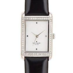 "Waldorf Strap in stainless/black, <a href=""http://www.katespade.com/waldorf-strap/1YRU0067,default,pd.html?dwvar_1YRU0067_color=045&start=46&cgid=watches"">$195</a>."