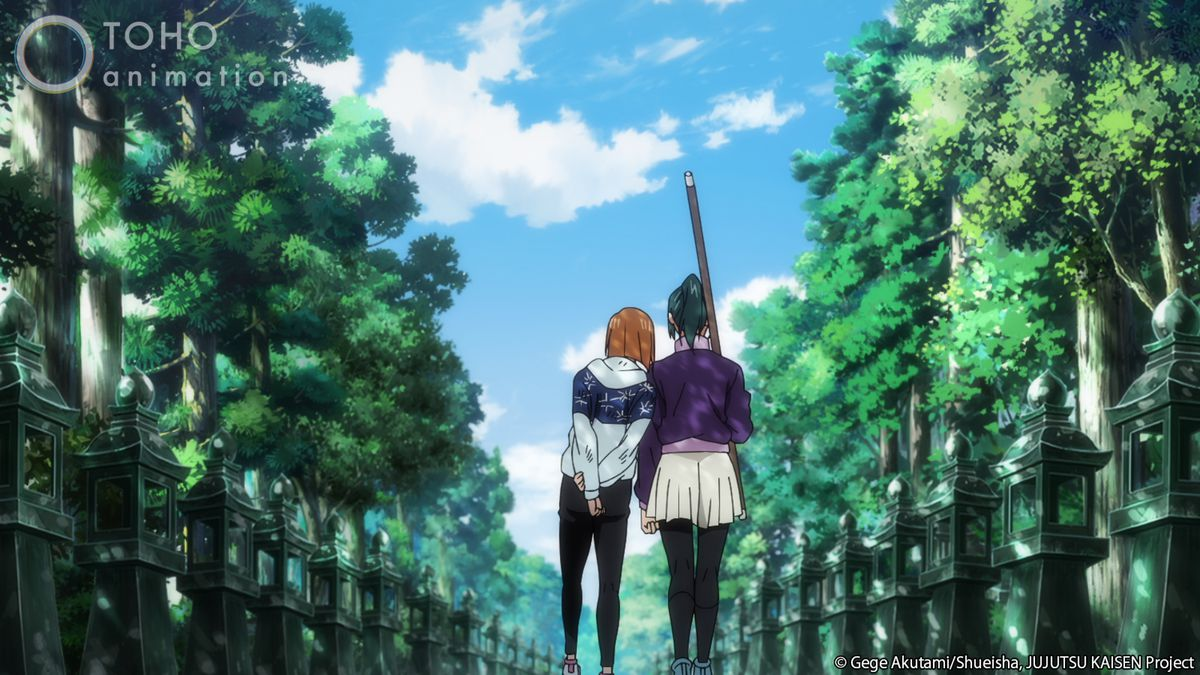 Nobara and Maki walking alongside each other.