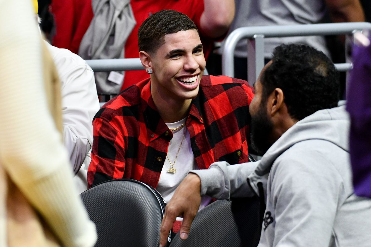 LaMelo Ball attends a basketball game between the Los Angeles Lakers and and the Minnesota Timberwolves at Staples Center on November 07, 2018 in Los Angeles, California.