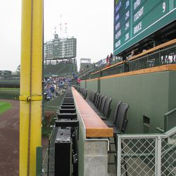 View of new right-field porch, unfinished wood rests -