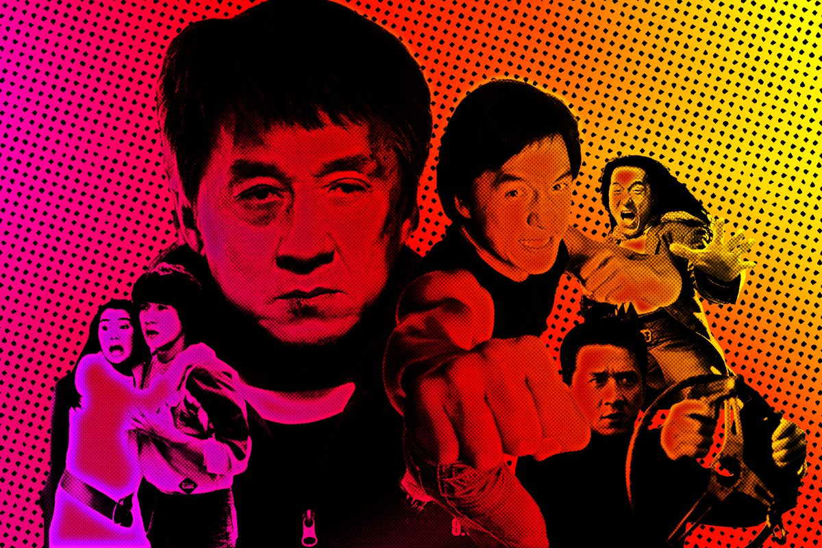 Collage of Jackie Chan photos from different movies