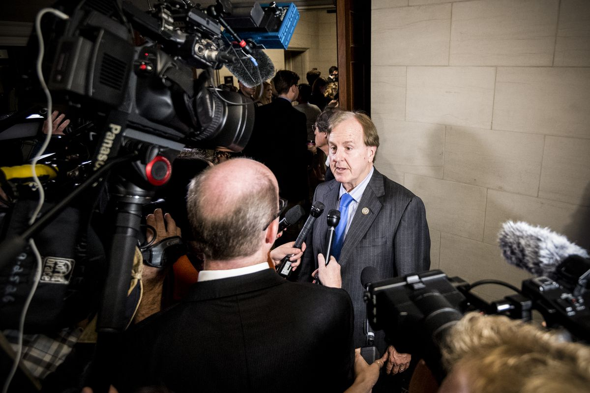 Rep. Robert Pittenger (R-N.C.), speaks to reporters as he leaves the House Republicans' meeting on the Republicans' tax reform plan on November 2, 2017.