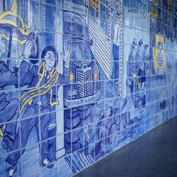 The lobby features extensive tile murals of the jazz era.