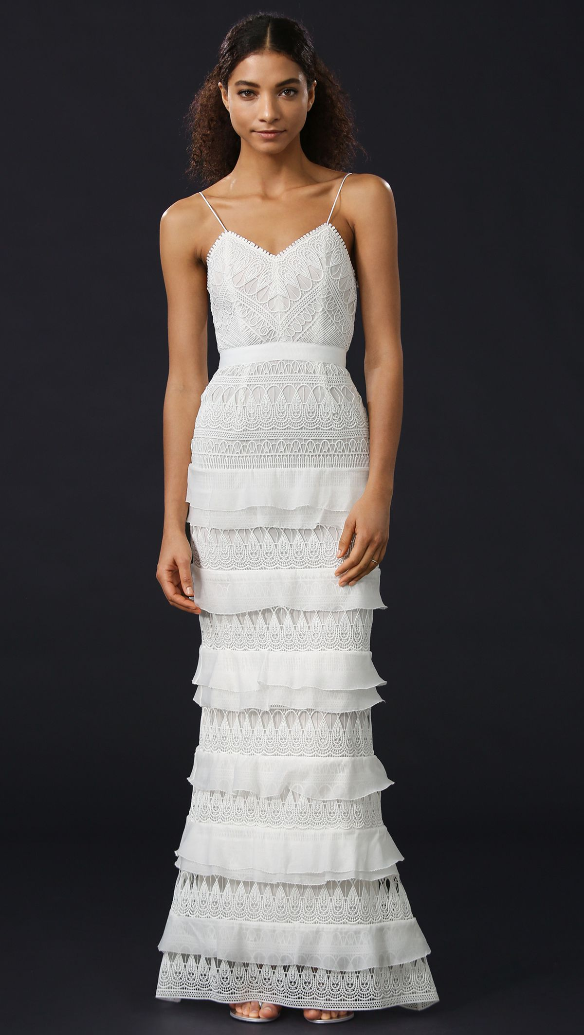 Where to buy a wedding dress racked a model in a tiered wedding gown izmirmasajfo