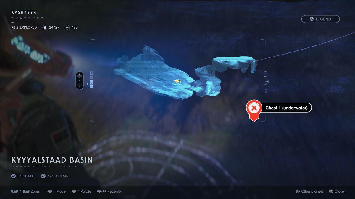 Star Wars Jedi Fallen Order Kashyyyk Kyyyalstaad Basin chests and secrets locations map