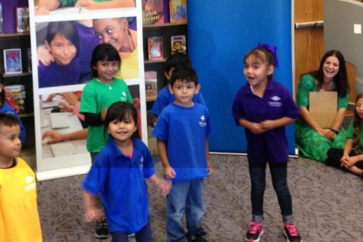 Preschoolers at Trevista at Horace Mann perform a dance before the district's news conference Thursday (photo by Melanie Asmar).