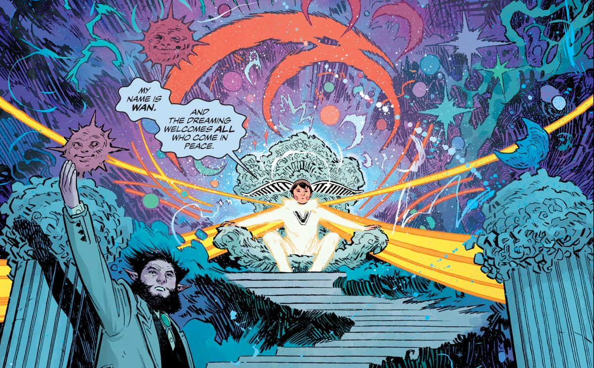 The ominous dream computer entity Wan sits on the throne of the dreaming and welcomes his visitors, in The Dreaming #12, DC Comics.