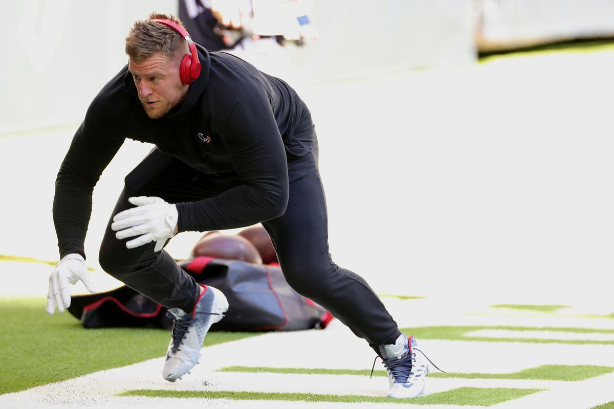J.J. Watt #99 of the Houston Texans warming up before a game against the Tennessee Titans at NRG Stadium on January 03, 2021 in Houston, Texas.