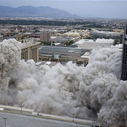 The Key Bank building is imploded to make way for the new downtown City Creek Development in Salt Lake City.