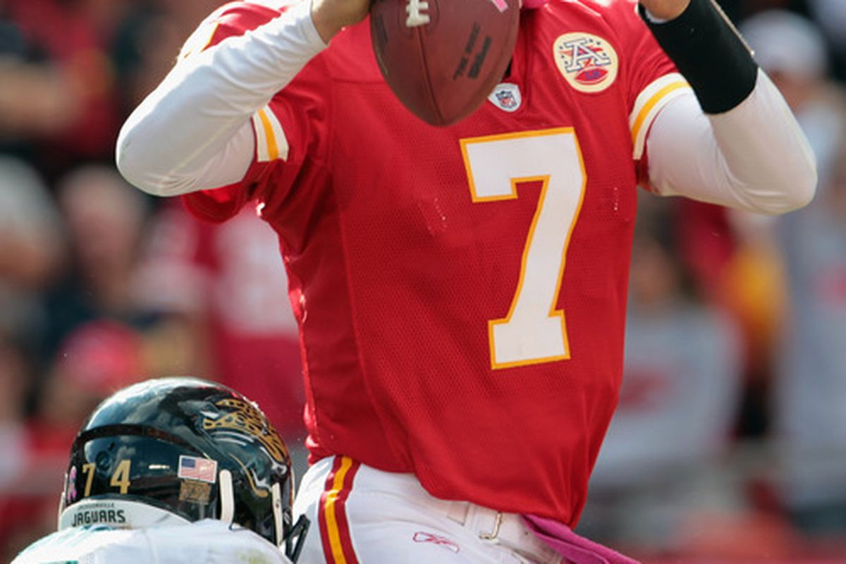 KANSAS CITY MO - OCTOBER 24:  Quarterback Matt Cassel #7 of the Kansas City Chiefs passes during the game against the Jacksonville Jaguars on October 24 2010 at Arrowhead Stadium in Kansas City Missouri.  (Photo by Jamie Squire/Getty Images)